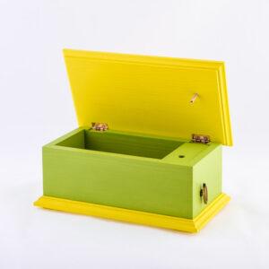 Lesena glasbena skrinjica, zeleno-rumena