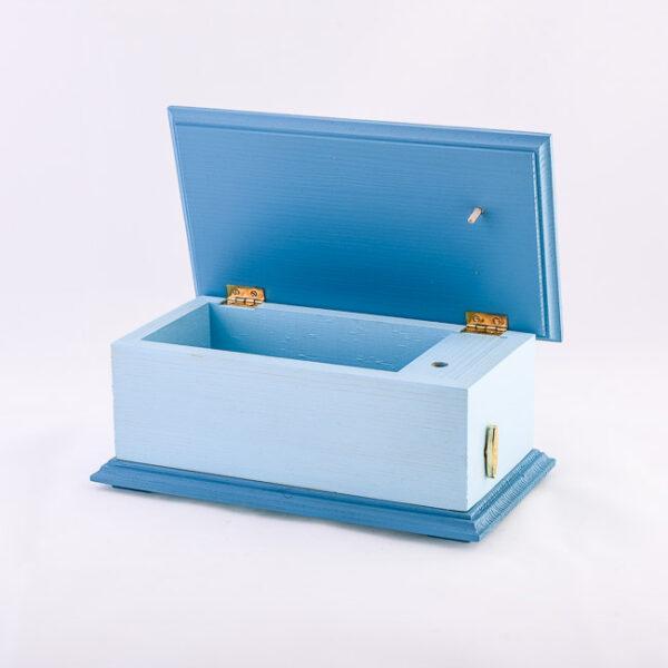 Lesena glasbena skrinjica, modra