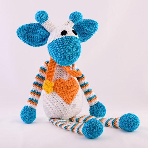 Kvačkana žirafa, modro, oranžno, bela