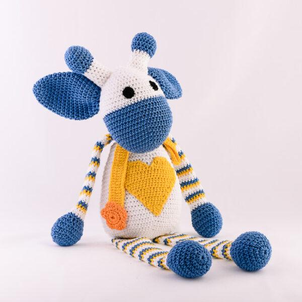 Kvačkana žirafa, modro, rumeno, bela
