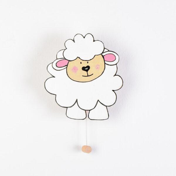 Lesena stenska glasbena dekoracija ovčka