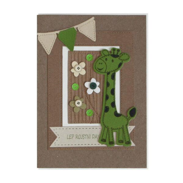Voščilnica Lep RD zelena žirafa