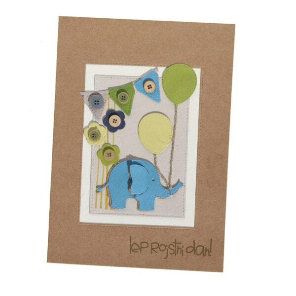 Voščilnica ob rojstnem dnevu, moder slonček