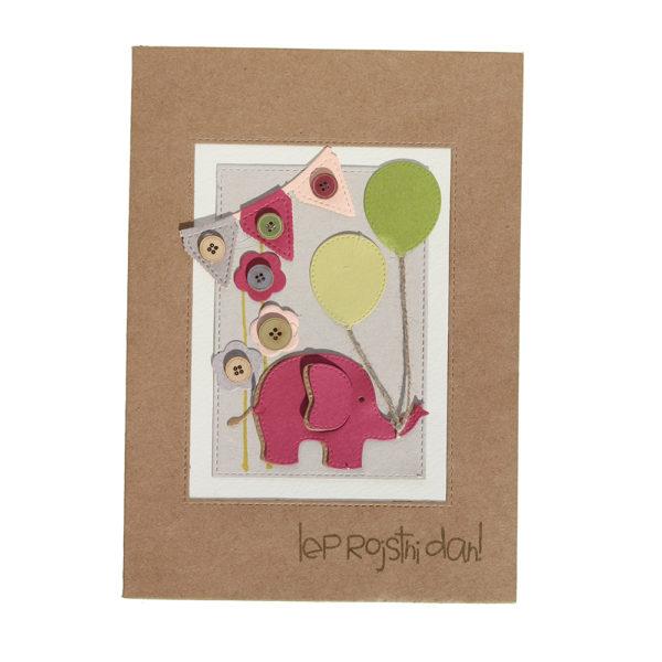 Voščilnica ob rojstnem dnevu, roza slonček