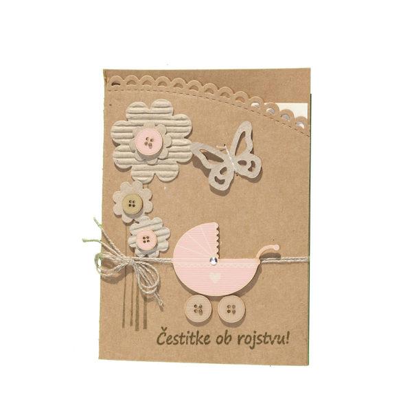 Voščilnica ob rojstvu, roza voziček