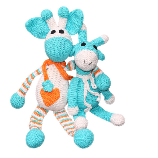 Žirafa in žirafica, modra
