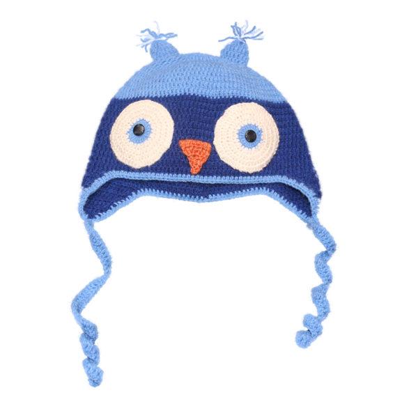 Kvačkana kapa sova, svetlo-temno modra