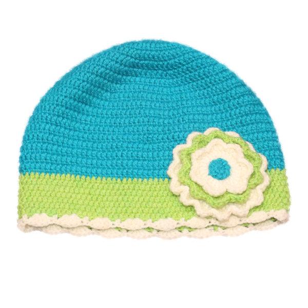 Kvačkana kapa modro-zelena