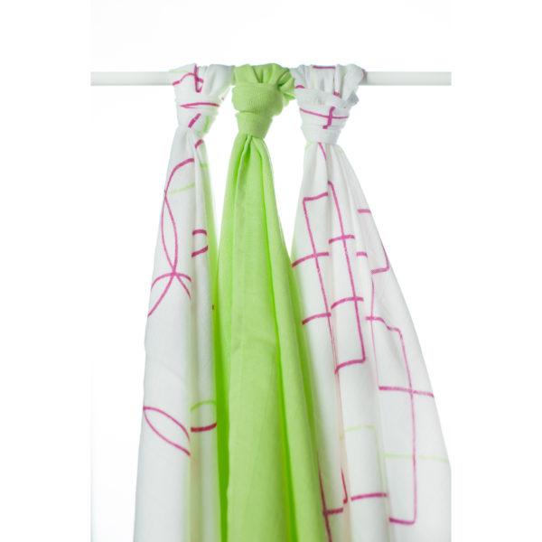 Potiskane tekstilne plenice, kvadrati ciklamen