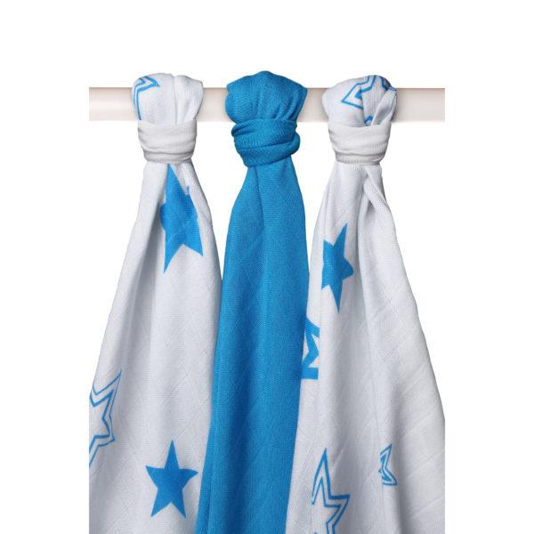 Potiskane tekstilne plenice, zvezde modra